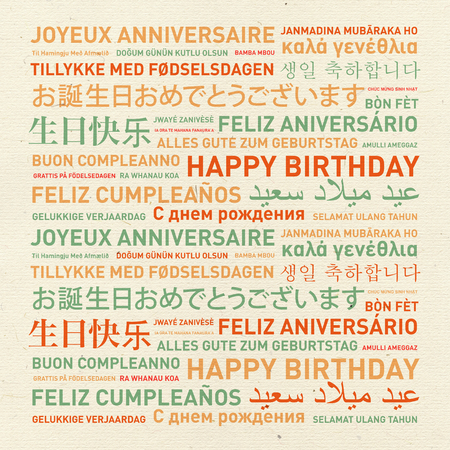 languages: Happy birthday from the world. Different languages celebration vintage card