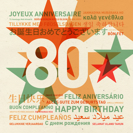 80th anniversary happy birthday from the world. Different languages celebration card