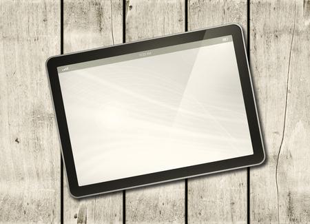 흰 테이블 - 가로 사무실 mockup에 디지털 태블릿 PC