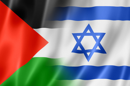 palestine: Mixed Palestine and Israel flag, three dimensional render, illustration