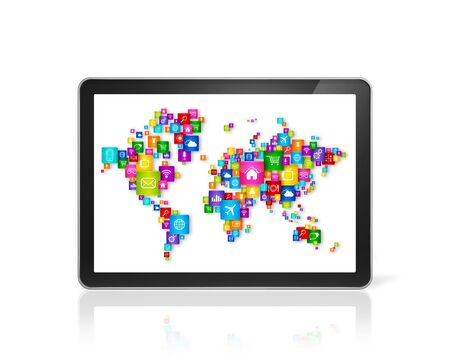 high tech device: 3D World map made of icons on digital Tablet PC. Cloud computing concept