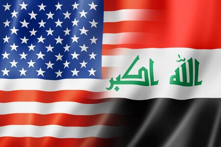 iraq conflict: Mixed USA and Iraq flag, three dimensional render, illustration