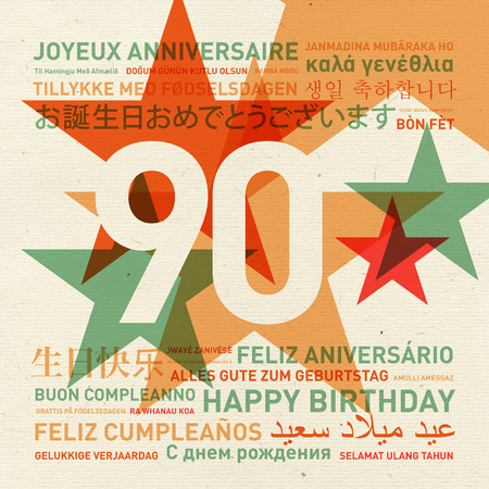90th: 90th anniversary happy birthday from the world. Different languages celebration card