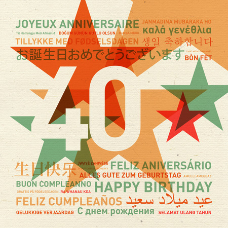 40th: 40th anniversary happy birthday from the world. Different languages celebration card