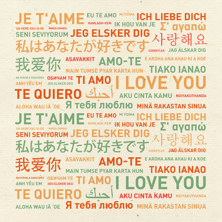 translated: I love you message card translated in different world languages Stock Photo