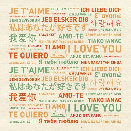 te quiero mucho: Te amo tarjeta de mensaje traducido en diferentes idiomas del mundo Foto de archivo