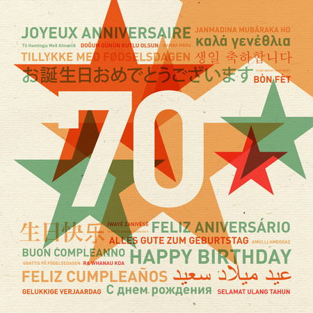 text background: 70th anniversary happy birthday from the world. Different languages celebration card