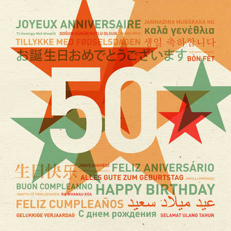 50th: 50th anniversary happy birthday from the world. Different languages celebration card