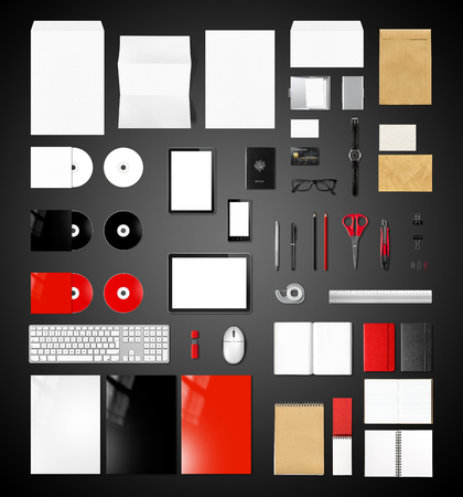 office supplies: Products branding mockup template, isolated on black background