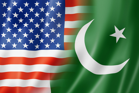 pakistan flag: Mixed USA and Pakistan flag, three dimensional render, illustration