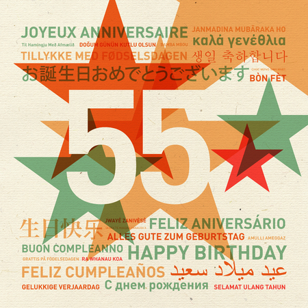 celebration card: 55th anniversary happy birthday from the world. Different languages celebration card