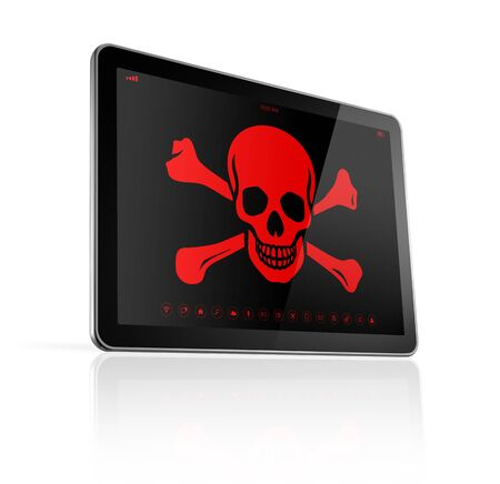 safety: 3D Tablet PC with a pirate symbol on screen. Hacking concept
