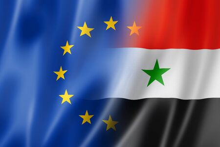 syria peace: Mixed Europe and Syria flag, three dimensional render, illustration