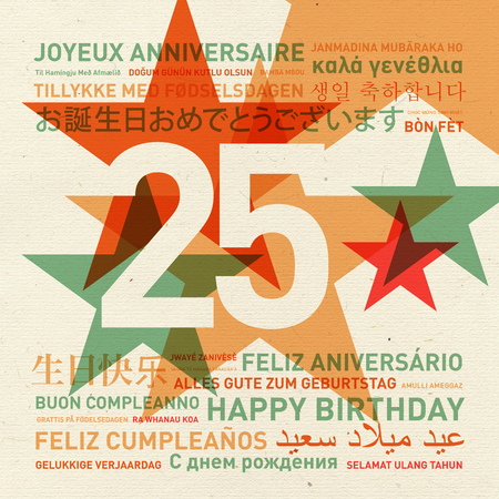 happy: 25th anniversary happy birthday from the world. Different languages celebration card Stock Photo