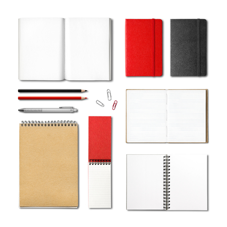 pen and paper: stationery books and notebooks mockup template isolated on white background Stock Photo