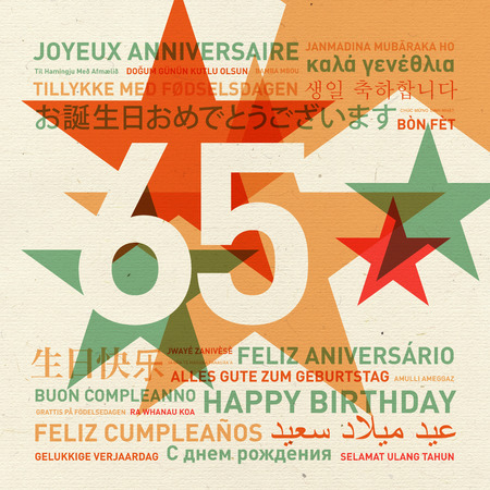 65th: 65th anniversary happy birthday from the world. Different languages celebration card