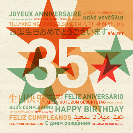 35th: 35th anniversary happy birthday from the world. Different languages celebration card