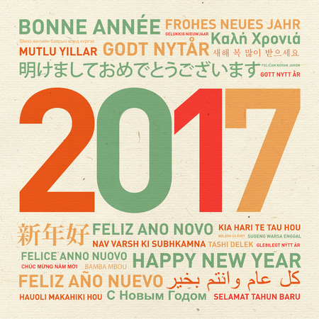 year: Happy new year vintage card from the world in different languages
