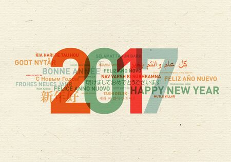 french: Happy new year card from the world in different languages