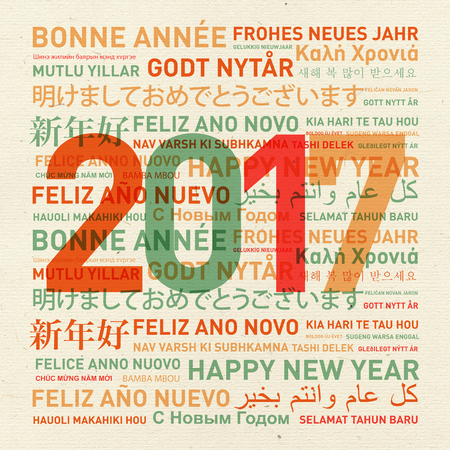 word cloud: Happy new year vintage card from the world in different languages