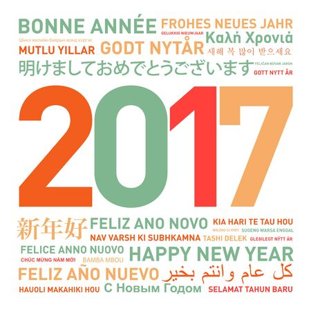 translating: Happy new year card from the world in different languages