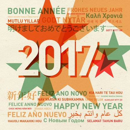new year eve: Happy new year from the world. Different languages celebration card