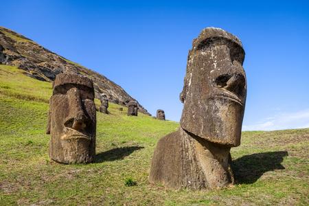rano raraku: Moais statues on Rano Raraku volcano, easter island, Chile