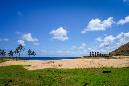 Anakena palm beach and Moais statues site ahu Nao Nao, easter island, Chile