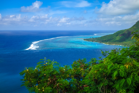 Aerial view of Opunohu Bay and lagoon in Moorea Island. French Polynesia Reklamní fotografie