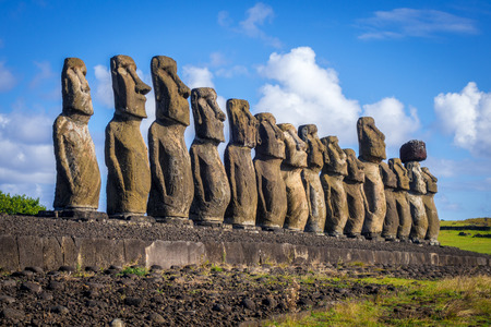 Moais statues, ahu Tongariki, easter island, Chile Stock Photo