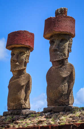 Moais statues site ahu Nao Nao on anakena beach, easter island, Chile