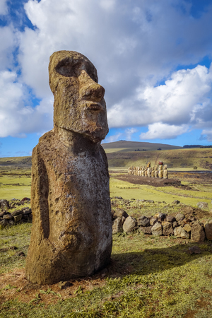 Moai statue, ahu Tongariki, easter island, Chile Stock Photo