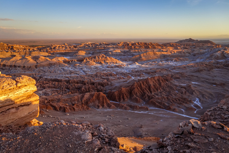Valle de la Luna landscape at sunset in San Pedro de Atacama, Chile