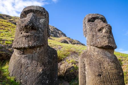Moais, estatuas, Rano, Raraku, volcán, pascua, isla, chile Foto de archivo