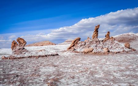Las tres Marias rocks in Valle de la Luna in San Pedro de Atacama, Chile