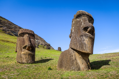 Moais statues on Rano Raraku volcano, easter island, Chile