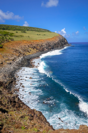 Cliffs on Rano Kau volcano in Easter Island, Chile Stock Photo