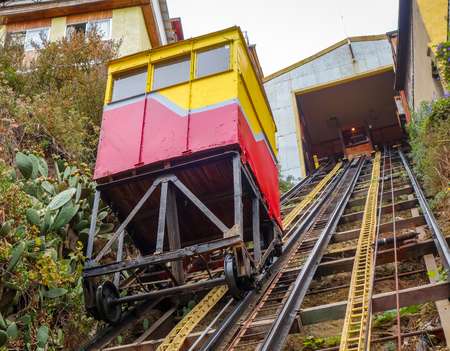 Vintage outdoor lift in Valparaiso city, Chile