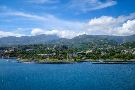 Papeete city view from the sea, Tahiti, french Polynesia