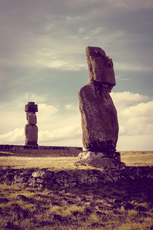 Moais statues, vai ure, easter island, Chile