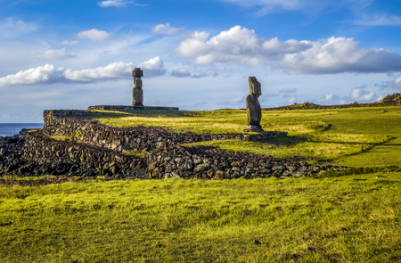 Moais statues, vai ure, easter island, Chile Stock Photo - 84594452