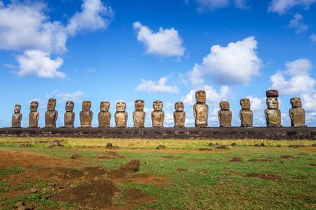 Moais statues, ahu Tongariki, easter island, Chile Stock Photo