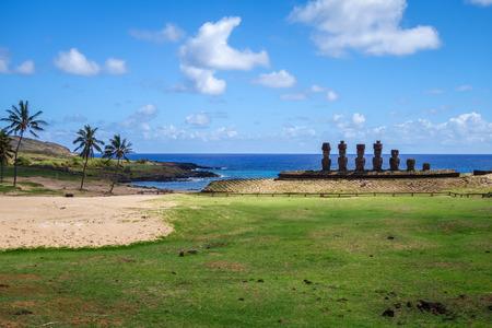 rapanui: Anakena palm beach and Moais statues site ahu Nao Nao, easter island, Chile