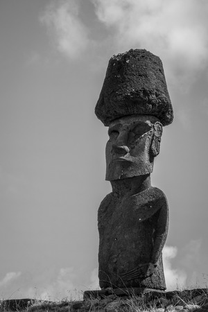 Moais statues site ahu Nao Nao on anakena beach, easter island, Chile. Black and white picture Stock Photo