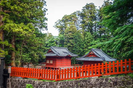 Traditional red wooden Shrine in Nikko, Japan Editorial