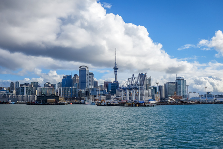 Auckland city center view from the sea, New Zealand Stock Photo
