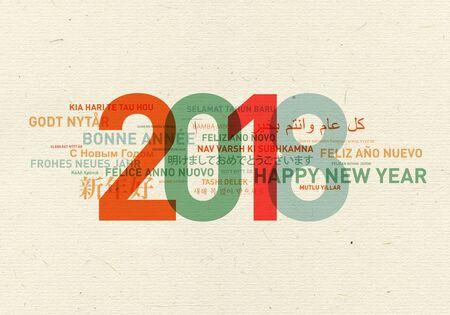 tarjeta de la vendimia de año nuevo feliz del mundo en diferentes idiomas Foto de archivo