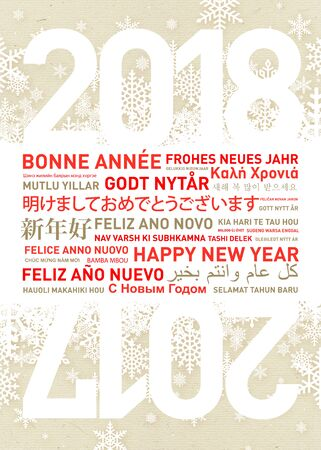 Happy new year card in different world languages Stock Photo