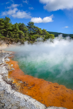 Champagne Pool hot lake in Waiotapu geothermal area, Rotorua, New Zealand