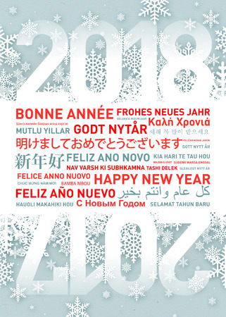 Happy New Year Greetings Card In Different World Languages Stock ...